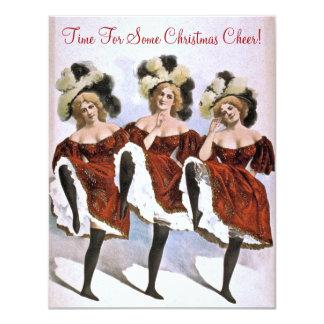 Senhora festiva Dançarino Natal Elogio Partido do Convite 10.79 X 13.97cm