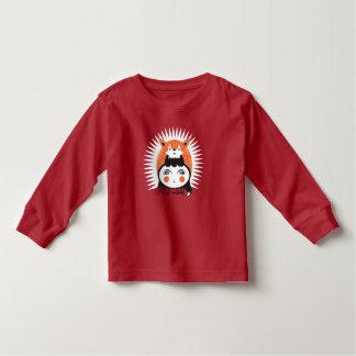 Senhora Foxy, t-shirt longo da luva da criança