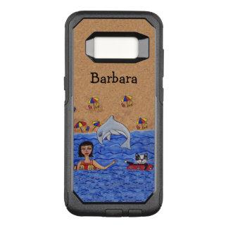 Senhora Gato Golfinho Natação no Sandy Beach do Capa OtterBox Commuter Para Samsung Galaxy S8