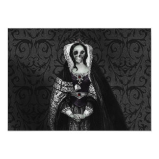Senhora gótico do crânio convite 12.7 x 17.78cm