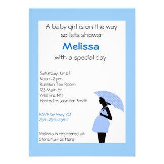 Senhora grávida Azul e convite do chá do preto