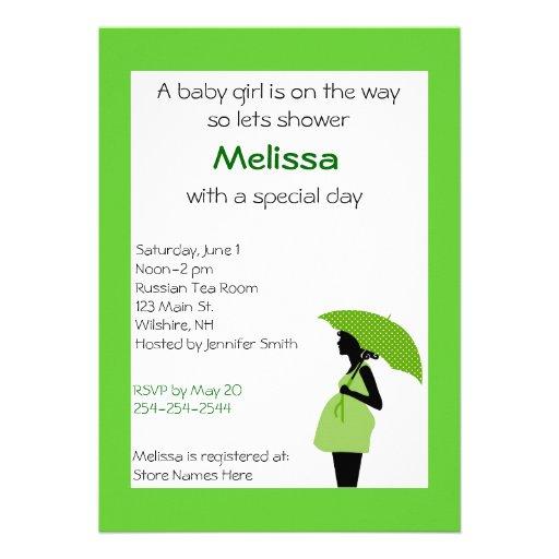Senhora grávida Verde e convite do chá do preto
