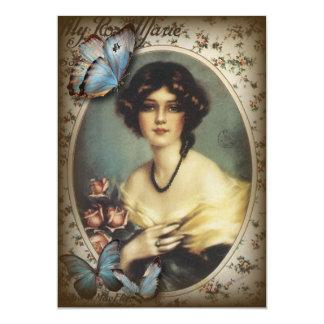Senhora idosa de Paris da forma da borboleta Convite 12.7 X 17.78cm