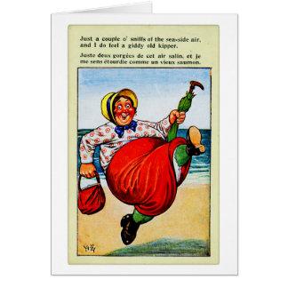 Senhora idosa do kitsch do vintage o Kipper velho Cartão Comemorativo