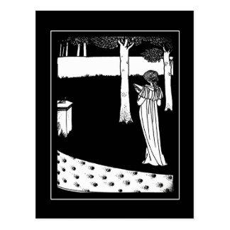 Senhora Ilustração Cartão de Beardsley do vintage