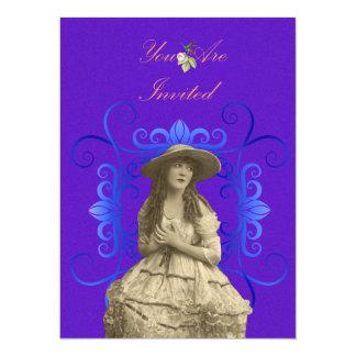 senhora Ilustração do vintage 1800's Convite Personalizado