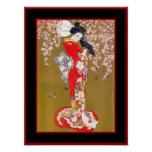 Senhora japonesa poster vintage da gueixa da arte
