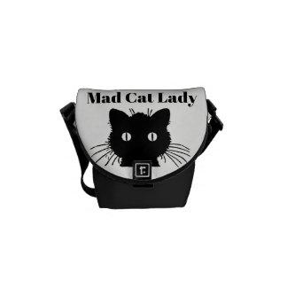 """""""Senhora louca"""" a mini bolsa mensageiro do gato"""