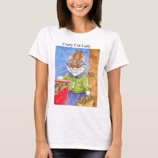 Senhora louca camiseta do gato