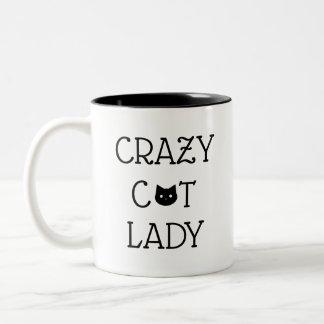 """""""Senhora louca"""" caneca do gato"""