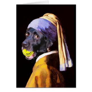 Senhora louca cartão do cão