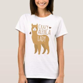 Senhora louca da alpaca camiseta