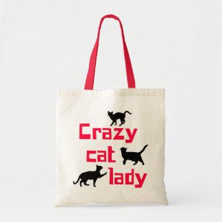 Senhora louca do gato bolsa tote