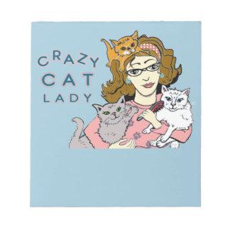 Senhora louca do gato caderno