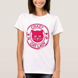 Senhora louca do gato camiseta