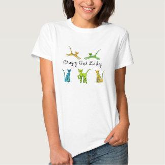 Senhora louca do gato camisetas