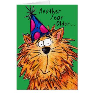 Senhora louca do gato do gato dos desenhos cartão comemorativo