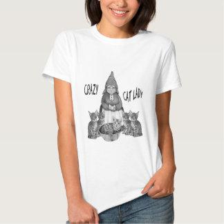 Senhora louca do gato, mulher do gnomo, gatos de camisetas