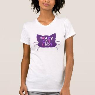 senhora louca do gato - roxo t-shirt