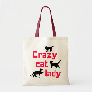 Senhora louca do gato sacola tote budget