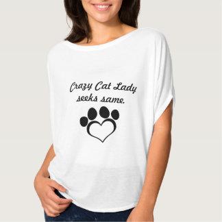 Senhora louca do gato t-shirt