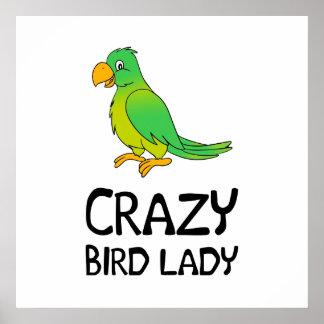 Senhora louca do pássaro poster