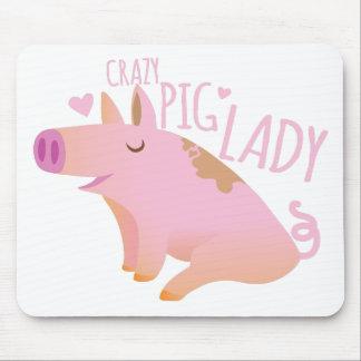 Senhora louca do porco mouse pad