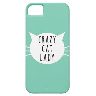 Senhora louca Engraçado Caso do gato Capa Barely There Para iPhone 5
