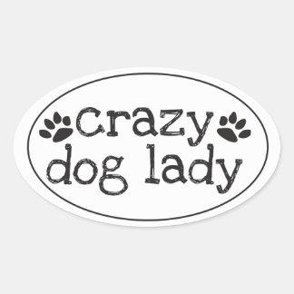 Senhora louca Etiqueta do cão Adesivo Oval