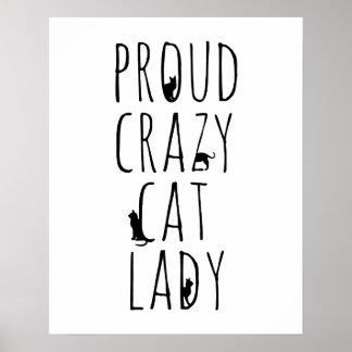 Senhora louca orgulhosa do gato pôster