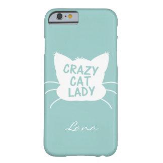 Senhora louca personalizada do gato no azul de capa barely there para iPhone 6