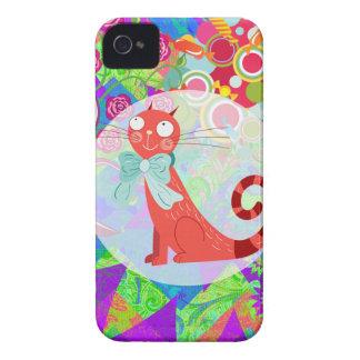 Senhora louca Presente Vibrante Colorido do gato Capinha iPhone 4
