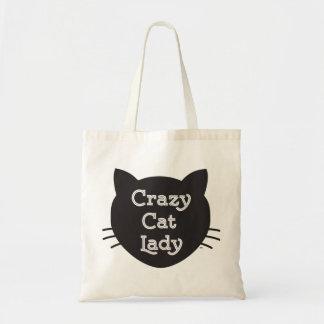 Senhora louca sacola do gato bolsa tote