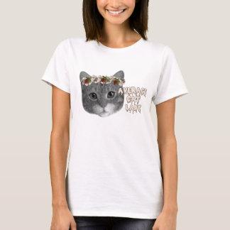 Senhora média do gato t-shirts