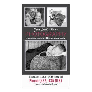 Senhora moderna Fotógrafo com as 3 fotos da amostr Cartão De Visita