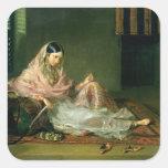 Senhora muçulmana Reclining, 1789 (óleo em canvas) Adesivos Quadrados