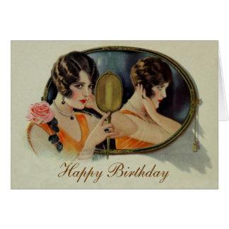 Senhora no cartão de aniversário dos anos 20 do