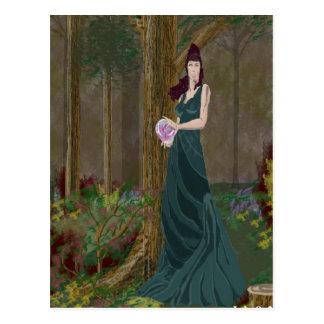 Senhora no cartão do vestido do verde de Forrest