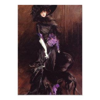 Senhora no preto com convites de um galgo