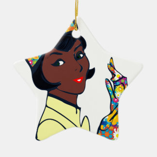senhora preta da modificação ornamento de cerâmica estrela
