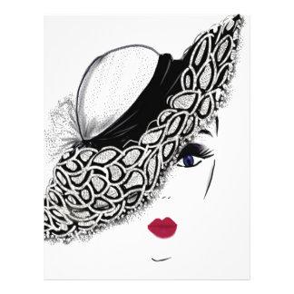 senhora preta do chapéu do teste padrão papel de carta