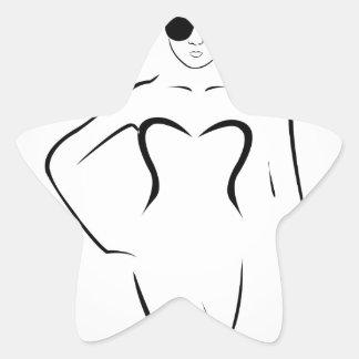 Senhora que veste máscaras e terno de natação adesito estrela