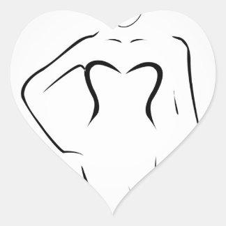 Senhora que veste máscaras e terno de natação adesivo coração