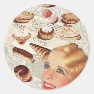 senhora retro Paris da pastelaria do cupcake da Adesivo