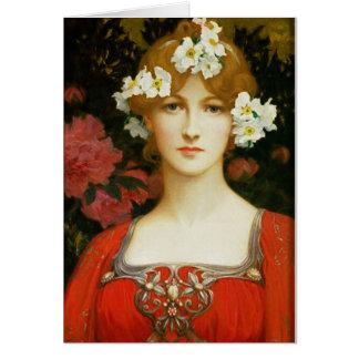 Senhora romântica cartão do vintage no vermelho