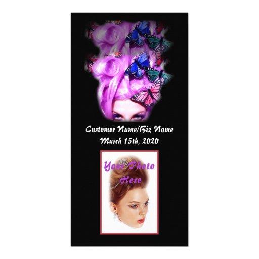 Senhora roxa cartão com fotos da borboleta do cabe