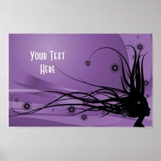 Senhora selvagem Perfil Silhueta do cabelo - preto Poster