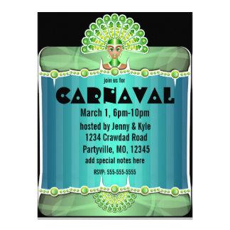 Senhora verde Carnaval Convite do pavão