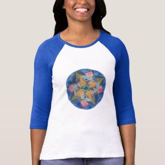 Senhoras azuis da mandala 3/4 de camisa do Raglan  Tshirt