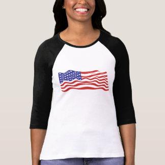 Senhoras da bandeira dos EUA 3/4 de Raglan da luva Camiseta